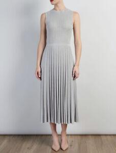 Bruce By Bruce Oldfield Pleated Knit Dress - Silver / UK 14