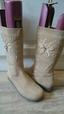 FIORE NATURAL TAN SUEDE MID CALF BOOTS, EMBROIDED DETAIL