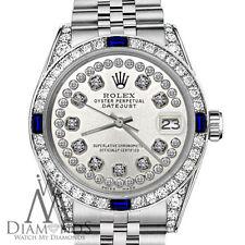 Rolex 26mm Datejust SS Silver Dial with Sapphire & Diamond Bezel Accent Watch