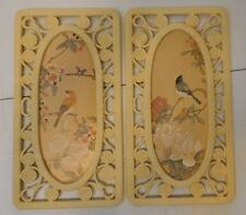 SET OF 2 VINTAGE 1977 SYROCO HOMCO BIRD FLOWER WALL PLAQUES WHITE PLASTIC FRAME