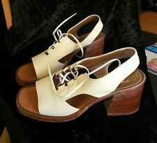 "1960's 5 1/2 Wide Strapped Lace Up Centers Wide Heels 2 1/2"" Thom McAnn"