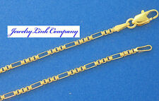 "14K Solid Yellow Gold Figaro Box Chain 1.5mm 18"" 4.9grams  Italian"