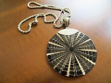 Vintage Artisan Fossil Shell Large Size pendant w/ Rope sterling chain necklace