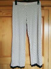 M&S Ladies White with Black Spots & Lace Trim Pyjama Bottoms, size 14