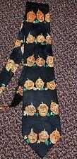 Halloween Themed Necktie Jack-O-Lantern Pumpkins Print Embossed  Silk Mr. Boo