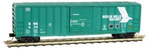 NEW N MTL #02500930 50' Single Door Ribside Boxcar Berlin Mills Railway #435