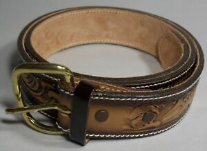 "TONY LAMA TOOLED LEATHER BELT FEATHER DESIGN 19518 SIZE 36 USA 1.5"" W BROWNS NEW"