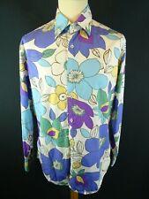Boden Mens Floral Colourful Bold Pattern Cotton Shirt UK Medium Long Sleeve