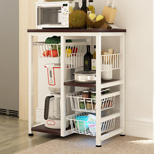 Kitchen Rack Utility Microwave Stand Multifuction Storage Cart Workstation Rack