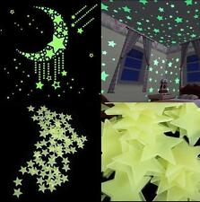 100pcs Glow In The Dark Stars Home Wall Decoration Baby Kids Bedroom Nursery DIY