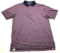 Peter Millar Mens Red Gray Striped Short Sleeve Polo Shirt Size Medium