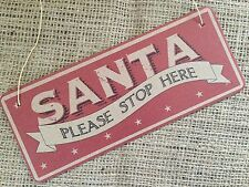 Christmas Tree Hanging Santa Sign Plaque Xmas Shabby Chic Home East of India