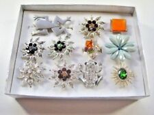 Jj Pewter Frog Pin Brooch & 10 My Style Boxed Fashion Rings Rhinestone Bling Lot