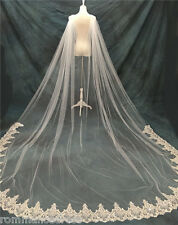 White Ivory Cathedral Bridal Cape Cloak Lace Sequin Long Wedding Dress Accessory