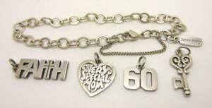 JAMES AVERY STERLING FORGED LINK BRACELET FAITH VERY SPECIAL MOM + 2 CHARMS