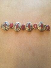 Vintage Gold Tone Brown Lucite Oval Push Clasp Bracelet