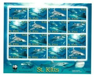 SPECIAL LOT WWF St. Kitts 2007 678 - Tiger Shark - 5 Sheets of 16 - MNH