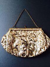 VINTAGE ART DECO Evening Bag Borsetta Francese con paillettes e perline PANNA RASO