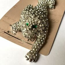 Crystal Studded Lion Animal Brooch Pin Large Statement Articulated Silver Tone