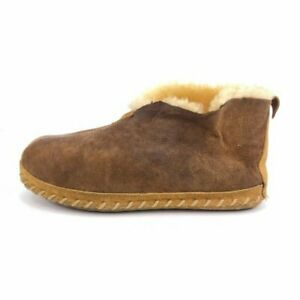 L.L. Bean Wicked Good Sheepskin Bootie Slippers Mens Size 9W Wide Brown Leather