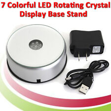 7 LED Light Unique 3D Electric Light Rotating Base Crystal Display Stand+Adapter
