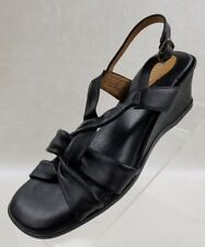 Clarks Artisan Sandals Open Toe Wedge Sling Black Leather Womens Shoes Size 7N