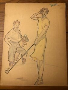 1930s Pencil Sketch Portrait of A Women and A Man Playing Golf