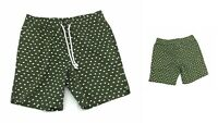 Zip Code Shorts Mens Olive Green with White Triangles Elastic Waist Casual