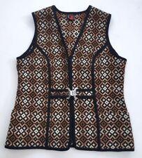 Vintage 60s 70s Black Beige Brown Welsh Wool Tapestry Gilet Waistcoat 14 16