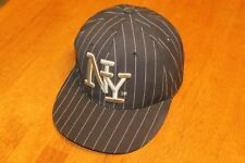 City Hunter New York NY Brown w/ Toned Beige Pinstripe Fitted Baseball Cap Hat