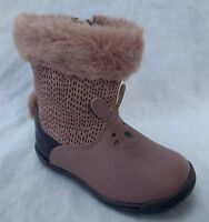 BNIB Clarks Girls Iva Time FST Dusty Pink Leather Boots F/G Fitting