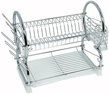 Buckingham 56cm Deluxe Dish 2 Tier Chrome Plated Dish Drainer/Holder with tray