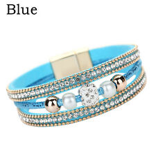 Hot Women Multilayer Bangle Bracelet Crystal Beaded Leather Magnetic Wristband Blue