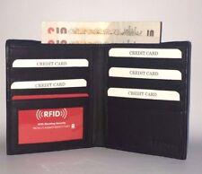 Men's RFID Real Leather Security Wallet Cardholder 14 Cards 1 Photo Black Soft