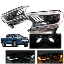 Fit 2015+ Ford Ranger Mustang Style Head lamp XLT PX2 LED DRL LH+RH