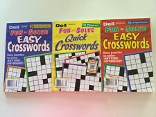 Lot of 3 Dell Easy Crosswords Fun to Solve Quick Penny Press FAST SHIP