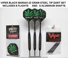 Viper Black Mariah 22 gm Steel Tip Darts with 6 Pot Leaf Flights-6 Shafts