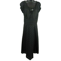 NWT Jones New York Black & Grey Striped Short Sleeve Dress Women's Size14