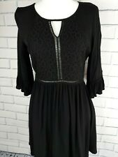 Forever 21 Women's Black Blouse/Dress Key Hole Lace Flare Bell Sleeve Size M