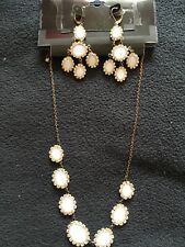 NEW Matching Necklace Earring Jewelry Set White Jewel Stone Faux Diamond Crystal