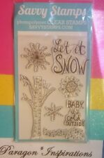 NEW SAVVY STAMPS Photopolymer LET IT SNOW Snowflakes Birch Tree Winter USA made