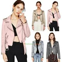 Women Short Coat Turn Down Collar Zipper Biker Suede Jacket Overcoat Outwear Top