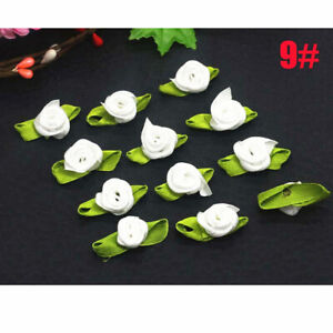 100-200P Small Mini Satin Ribbon Flowers Rose Wedding Decor Sewing Appliques DIY