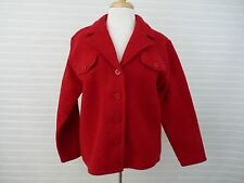 NEW Women Red Boiled Wool Button Front Jacket Blazer Eminent by Lisa MED Career