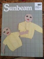 Baby knitting patterns.cardigans.twin Set.size 17-21 inch chest.3 ply.Sunbeam