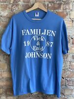 Vintage 80s Familjen Vick & Enid Johnson 1987 T Shirt Russell Athletic USA LARGE
