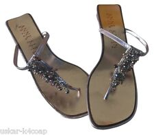 Anne Klein Collection Flat Sandals Freshwater Pearls Metallic Leather Italy  8M