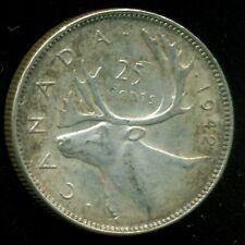 1942 Canada 25 Cent Piece, King George VI    P209