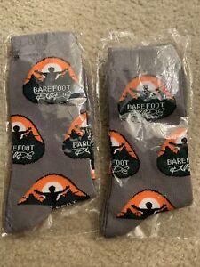 Mens BAREFOOT DUDE socks New 2pairs Gray