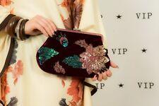 90S Vintage velvet sequin beaded clutch bag evening shoulder vamp goth party